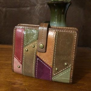 FOSSIL TriFold women's color block Leather Wallet